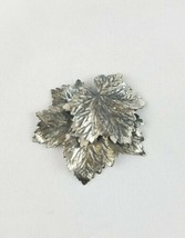 Vintage Napier brooch pin silver tone leaves signed jewelry - $18.65