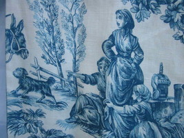 COUNTRY FRENCH BLUE TOILE LINEN FABRIC SWAG VALANCE CURTAINS 4 Sets HAND... - $61.75