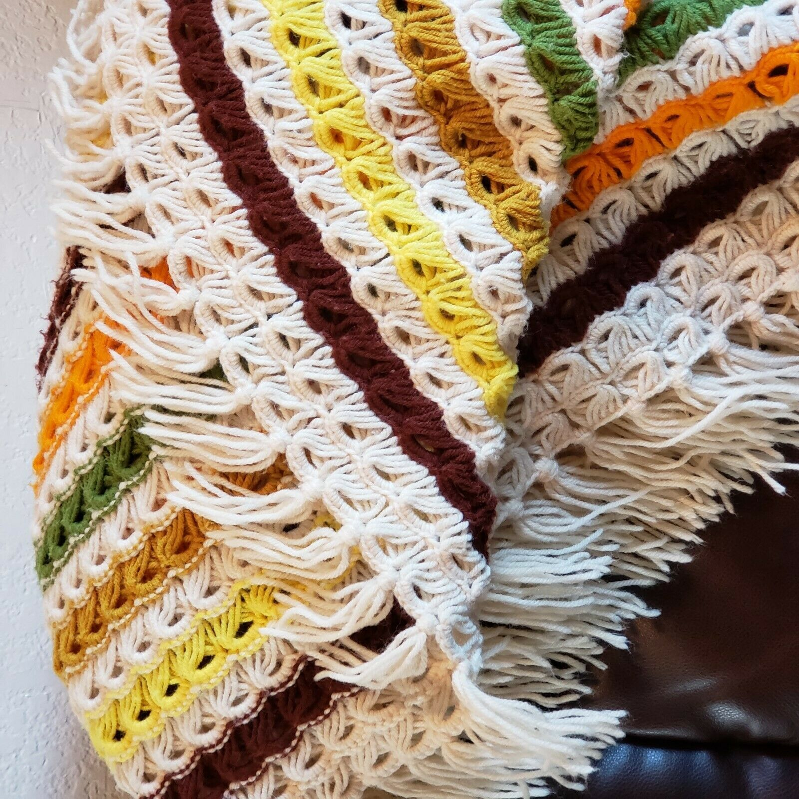 "Primary image for Vintage Retro Handmade Crochet Afghan Throw Blanket Fall Colors  70""x60"" EUC"