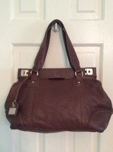 Women Liz Claiborne Chocolate Brown Leather Tote Shoulder Bag - $19.99
