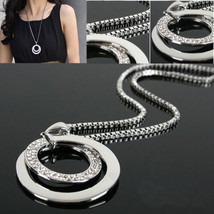 USA Fashion Women Crystal Rhinestone Silver Plated Long Chain Pendant Ne... - $9.89