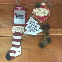 Lot of Painted Wood Stocking & White Metal Christmas Tree Ornaments – white - $13.09