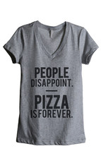 Thread Tank Pizza Is Forever Women's Relaxed V-Neck T-Shirt Tee Heather ... - $24.99+