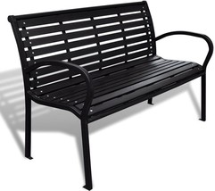 Outdoor Garden Black 3 Seater Steel Frame Bench Patio Backyard Porch Fur... - $191.14