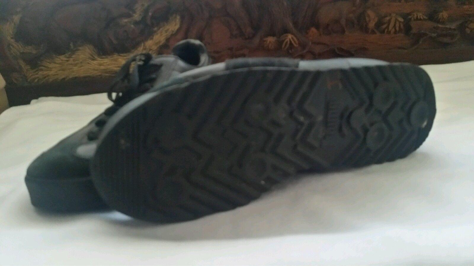 ... Puma Roma Basic Women s Black leather sneakers Sz 5 US   37 EUR- EUC a998bea73
