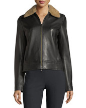 Stylish Fur Collar Front Zip Women's Genuine Soft Lambskin Leather biker... - $159.00