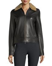 Stylish Fur Collar Front Zip Women's Genuine Soft Lambskin Leather biker... - $159.00