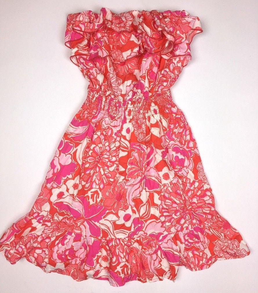 450e64d0968c62 LILLY PULITZER Womens SIZE M Orange Tango QUINCY Strapless Ruffle Mini Dress  EUC