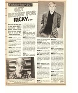 Ricky Schroder teen magazine pinup clipping get ready for Ricky Silver S... - $1.50