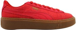 Puma Basket Platform Woven High Risk Red/Gold 364847 01 Women's SZ 7 - $40.50