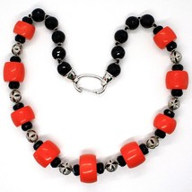 SILVER 925 NECKLACE, ONYX BLACK ROUND, DISCS OF CORAL, ALTERNATING image 2