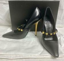 Very Sharp VERSACE Tribute Gold Medusa Black Leather Shoes Pumps Retail $1,075 - $299.99