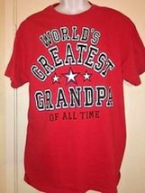"Gildan Men's ""World's Greatest Grandpa Of All Time"" Red Graphic T-Shirt NEW - $7.97"