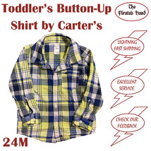 Boy's Toddler Button Up Shirt Size 24M Yellow Blue Plaid Long Sleeve EUC - $8.99
