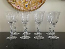 "Fostoria Navarre 5 3/8"" Wine Etched Glasses Set of 8 - $199.00"