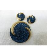 Vintage JJ Jonette Jewelry Brooch Set Clip-on Earrings Brush Gold Blue C... - $128.65