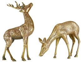 "Vintage Pair of Large Tall 14"" Solid Brass Buck & Doe Deer Animal Set Fi... - $259.00"