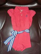 Ralph Lauren Romper Jumper Red W/STRIPED Belt Size 3 Months Girl's Euc - $17.94