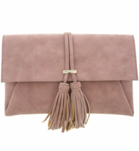 Faux Suede Tassel Clutch Bag, Ladies Purse - Camel Brown, Golden Hardware - €39,01 EUR