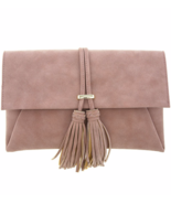 Faux Suede Tassel Clutch Bag, Ladies Purse - Camel Brown, Golden Hardware - $45.00