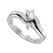 10k White Gold Round Diamond Leaf Floral Bridal Wedding Engagement Ring Set - $459.00