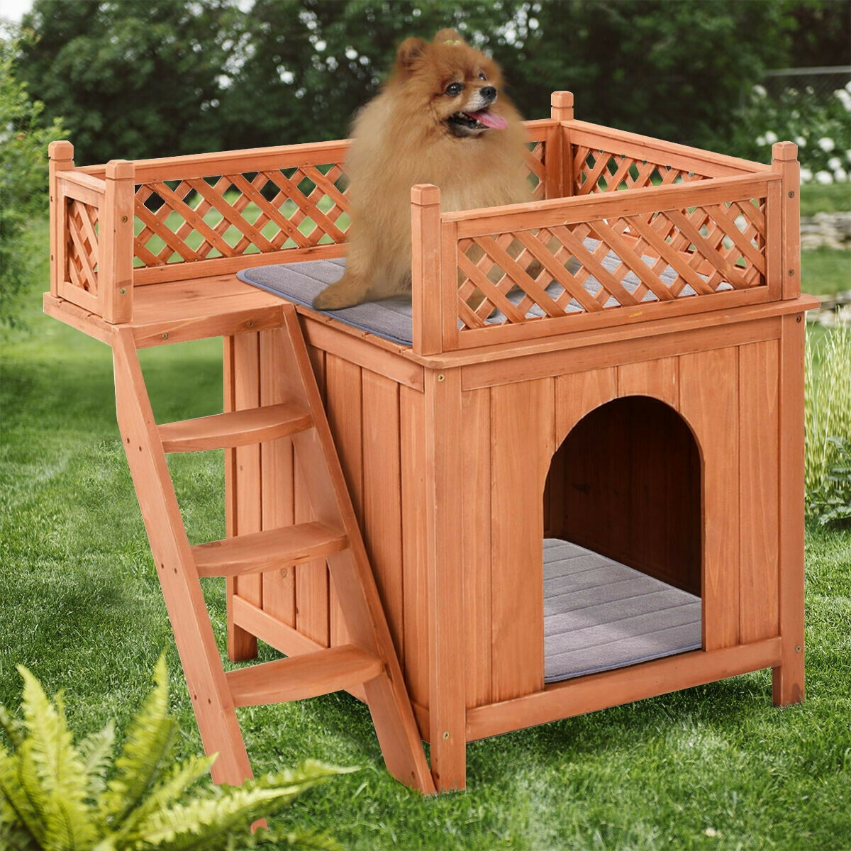 Primary image for Wooden Dog House Puppy Pet Raised Side Ladder Balcony Removable Roof Outdoor