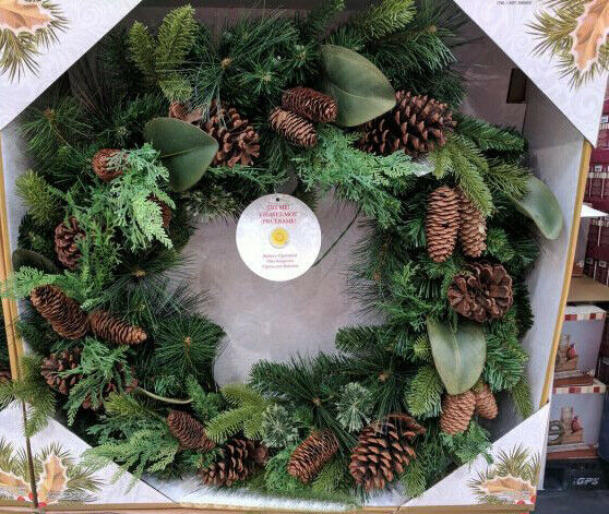 32-Inch 50 Dual Color LED Pre-Lit Battery Operated Christmas Wreath NEW in Box