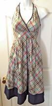 Women's Anthropologie MAEVE Dress Blue Plaid Halter Fit & Flare Full Ski... - $27.62