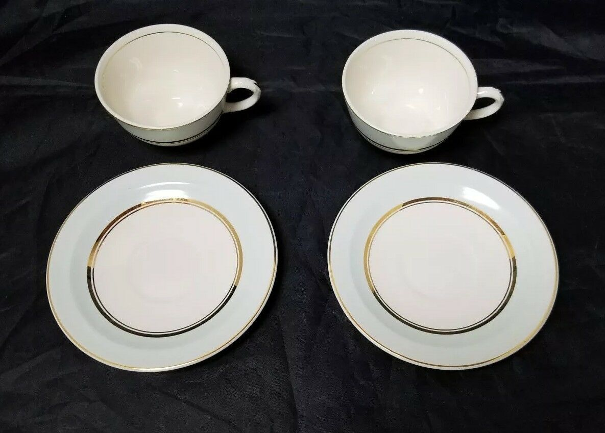 The French Saxon China Co Tea Cup & Saucer Set of 2, 22kt Gold, Pottery Made USA image 5