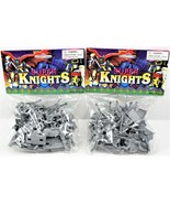 """Super Silver Knights Play Set Actions Figures 2"""" Tall Pack of Two Free S... - $29.69"""