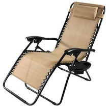 Sunnydaze Khaki Oversized Zero Gravity Lounge Chair with Pillow and Cup ... - $69.29