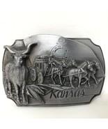 VTG Siskiyou Kansas Commemorative 1989 Stage Coach Cattle Drives Belt Bu... - $49.49
