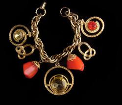 Large 1950s Charm Bracelet - vintage Chunky rhinestones - yellow and ora... - $95.00