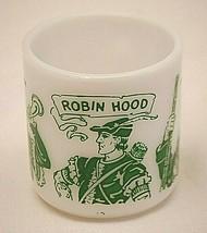 Hazel Atlas Robin Hood Kid's Milk Glass Juice Mug Cup D Handle Green 6 oz. MCM - $24.74