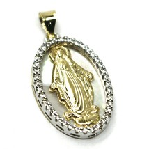 18K YELLOW WHITE GOLD MIRACULOUS MEDAL VIRGIN MARY MOTHER OF PEARL ZIRCONIA 21mm image 1