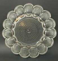 "Indiana Clear Glass Deviled Egg Relish Dish Platter Hobnail 11.25"" - $24.88"