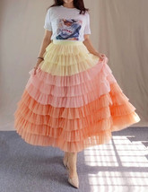 Yellow Pink Layered Tulle Skirt Tiered Tulle Party Outfit Plus Size Party Skirt  image 5