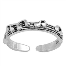 14k White Gold Finished 925 Sterling Silver Midi Finger Music Design Toe... - $9.99
