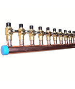 """1"""" Copper Manifold 1/2"""" Pex Crimp Fitting (With & Without Ball Valve) 2-... - $21.39+"""