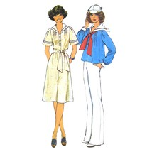 1970s Vintage Simplicity Sewing Pattern 7439 Pullover Sailor Dress Top S... - $6.95