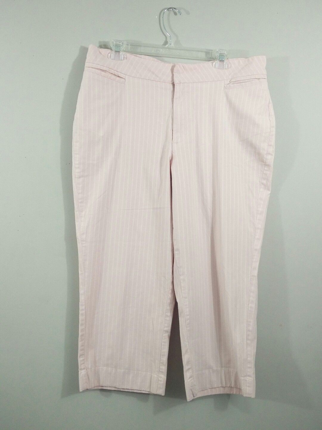 Riders by Lee Womens 16M Stretch Pink Stripe Capri Cropped Pant