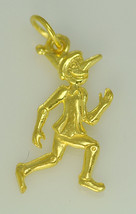 LOOK Pinocchio puppet boy Story Book charm 24kt Gold plated over real Sterling s - $9.76