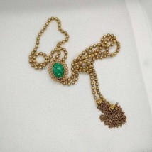 Delizza and Elster for Avon Ming Green Slide Tassel Y Necklace 1973 Ming... - $35.00