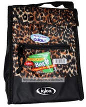 """IGLOO 9"""" x 7"""" x 4.5"""" INSULATED BAG IT Easy To Clean LEOPARD Collapses LU... - $4.99"""