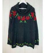 Ugly Christmas Sweater Womens 2X Designers Originals Studio Poinsettas B... - $49.45
