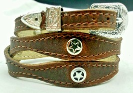 BROWN HATBAND Scalloped Leather with SILVER STAR CONCHOS and Buckle Set ... - $23.16