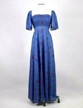 Vintage 1970s Blue Fit Flare Maxi Dress 1776 Americana Revolution Themed... - $29.69