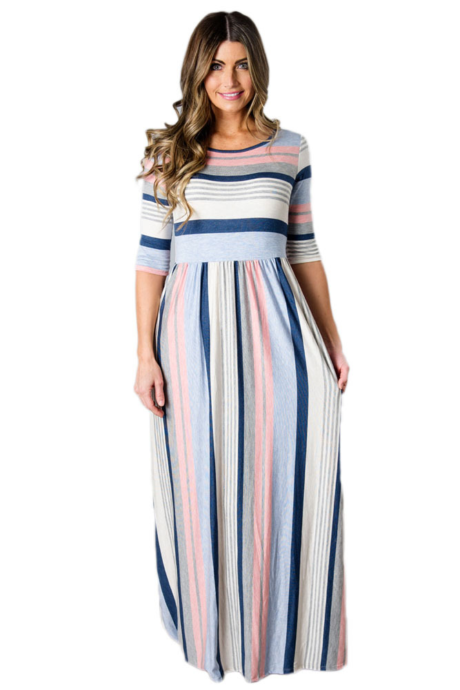 Light Multicolor Striped Half Sleeve Casual Maxi Dress