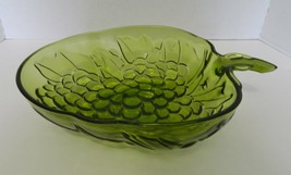 Indiana Glass Strawberry Shaped Green Large Fruit Bowl Raised Grapes on ... - $19.68