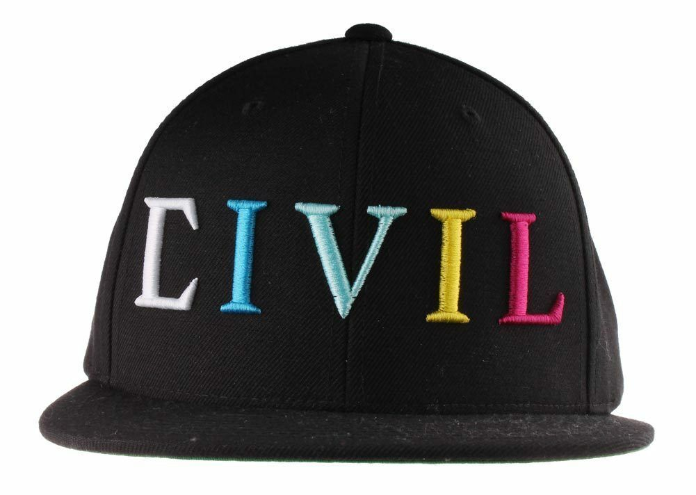 Civil Clothing Unisex Black CMYK Logo Trap Snapback Baseball Hat NWT